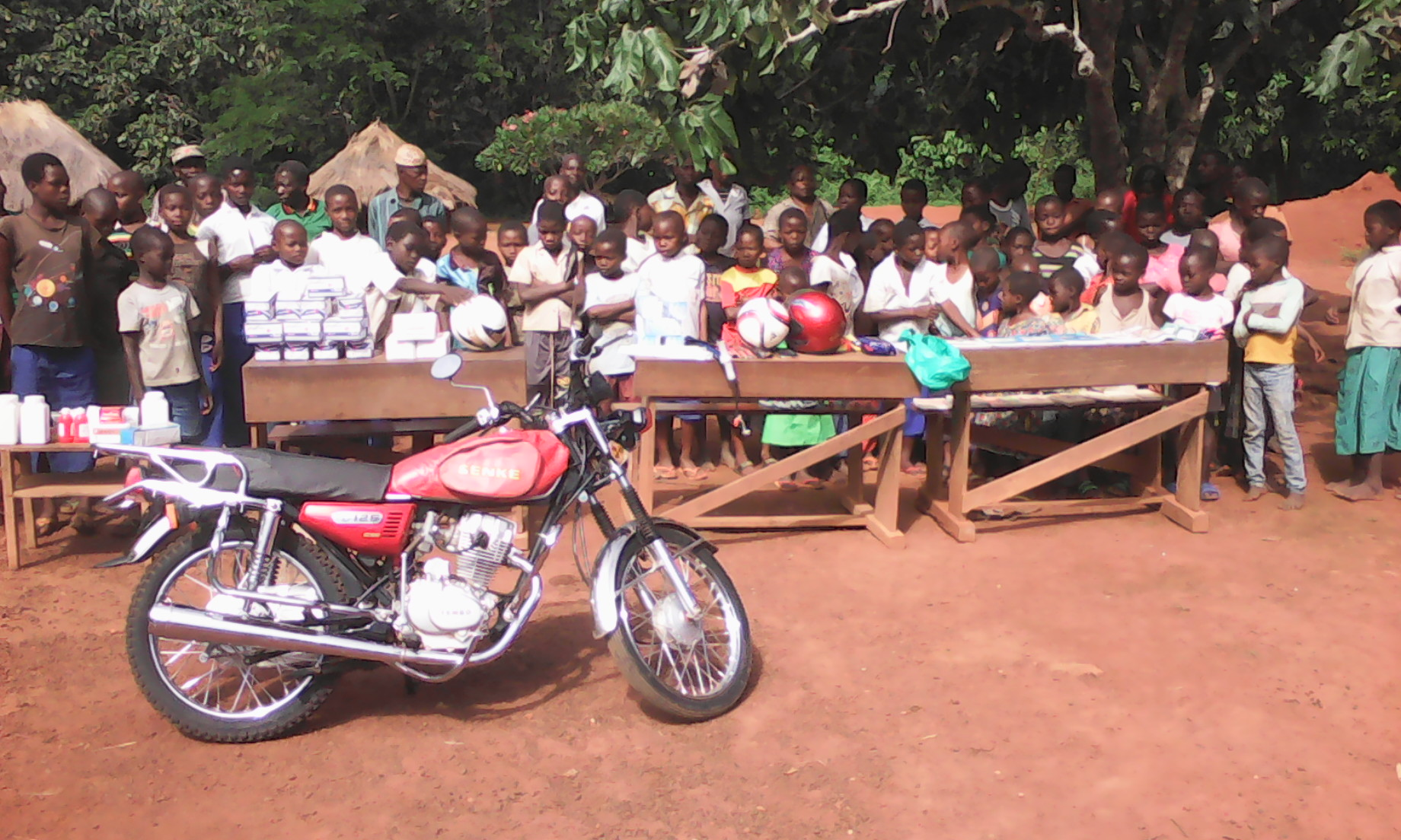 Medical and School Supplies on display at the RainShine School in Epi, Democratic Republic of the Congo